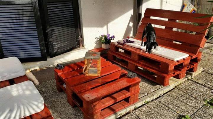 Pallet Deck Furniture Painting Outdoor Pallet Furniture Set