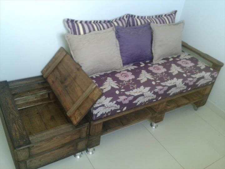 diy whole pallet sofa with side storage
