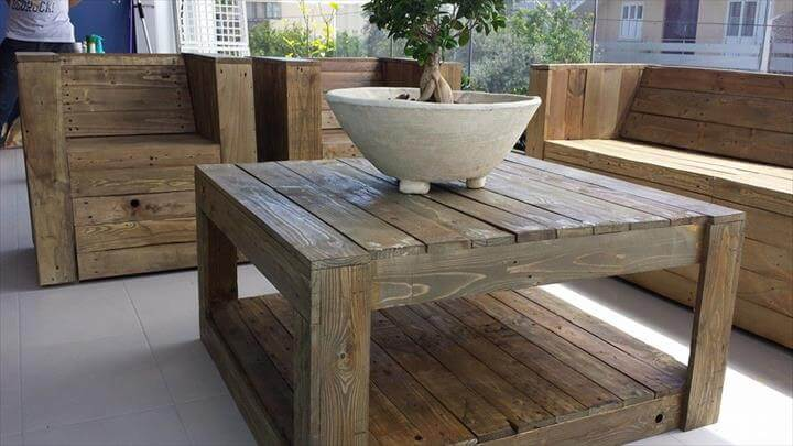 Pallet terrace furniture set 101 pallet ideas for Terrace chairs