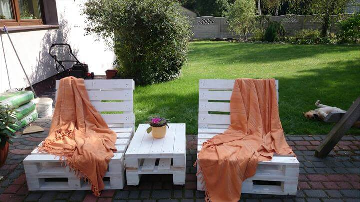 Chic White Pallet Outdoor Loungers with Table
