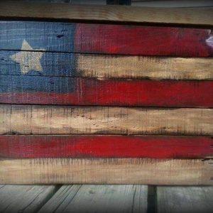 repurposed pallet wood flag art