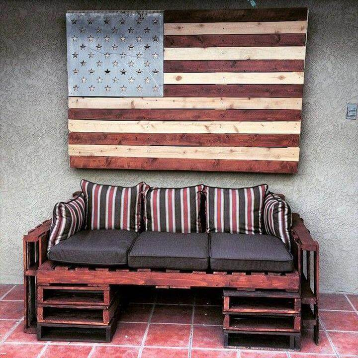 upcycled pallet storage friendly sofa