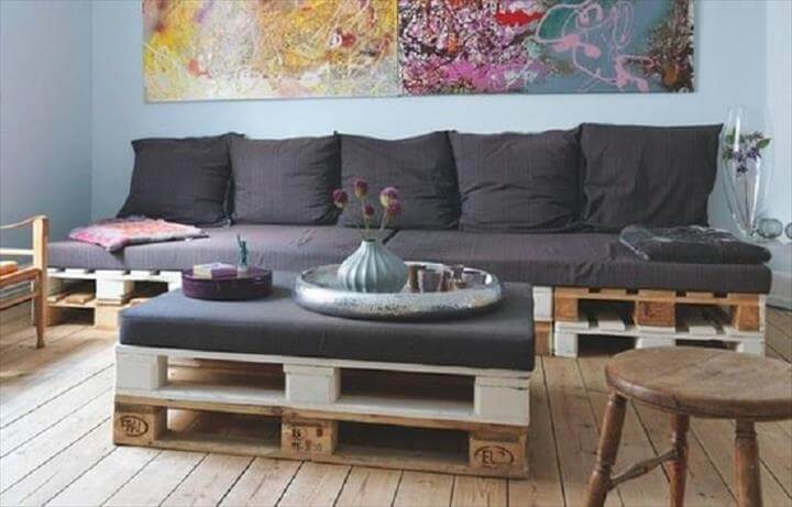 upcycled white painted pallet sofa and coffee table