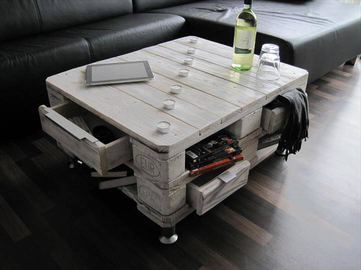 Vintage Inspired Pallet Coffee Table with Drawers