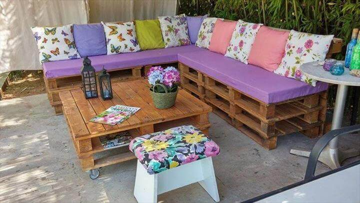 raised whole pallet board sectional sofa