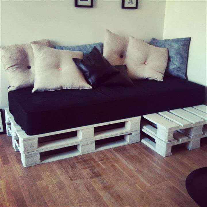 white painted whole pallet sofa installation