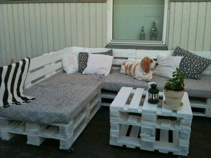 easy cushioned sofa made of pallets