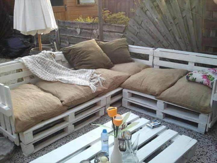 chic white pallet sofa with burlap cushion