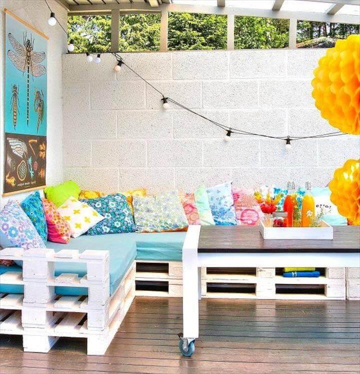 white pallet raised sectional sofa