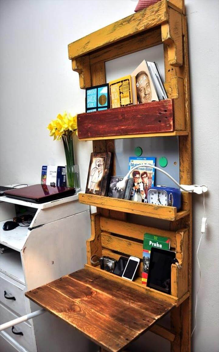 Computer Desk Made Out of Pallets & Shelf | 101 Pallet Ideas