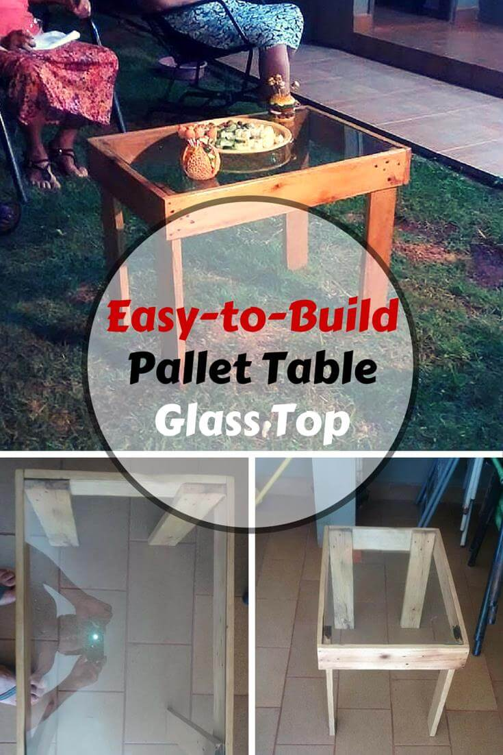 Easy pallet coffee table with glass top for How to make a glass top coffee table