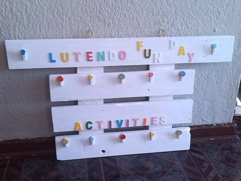recycled pallet white wall organizer