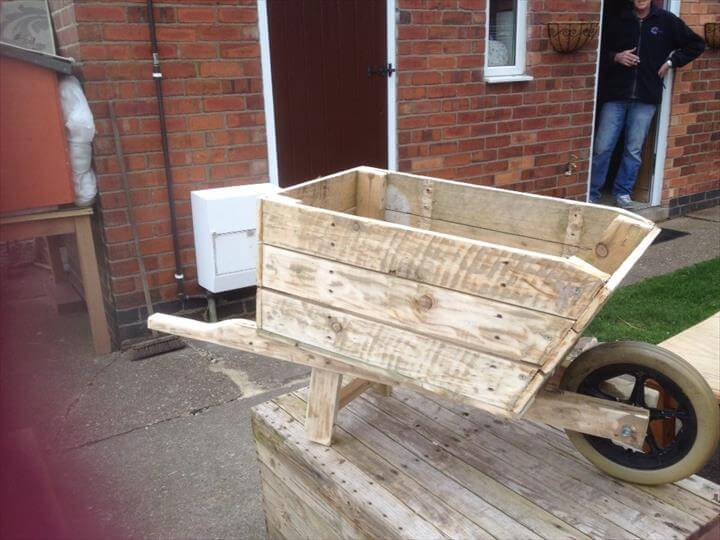Wooden pallet wheelbarrow planter for How to make a planter box out of pallets