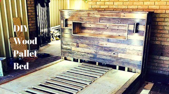 DIY Easy-to-Install Pallet Platform Bed DIY Pallet Bed with Headboard ...