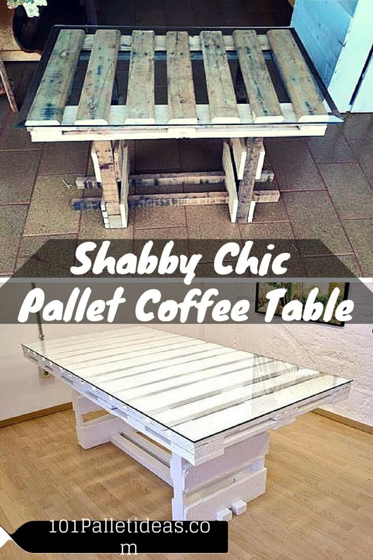 Diy shabby chic pallet coffee table for Pallet shabby chic