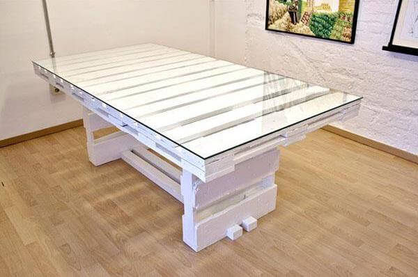 pallet wood coffee table with glass top. Black Bedroom Furniture Sets. Home Design Ideas