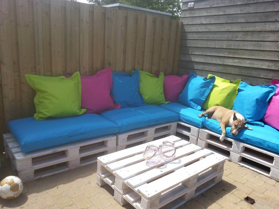 Superb Patio Sofa From Pallets · DIY Pallet Patio Sectional Couch