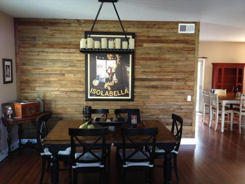 Diy wood pallet wall ideas and paneling - Wooden pallet accent wall ...