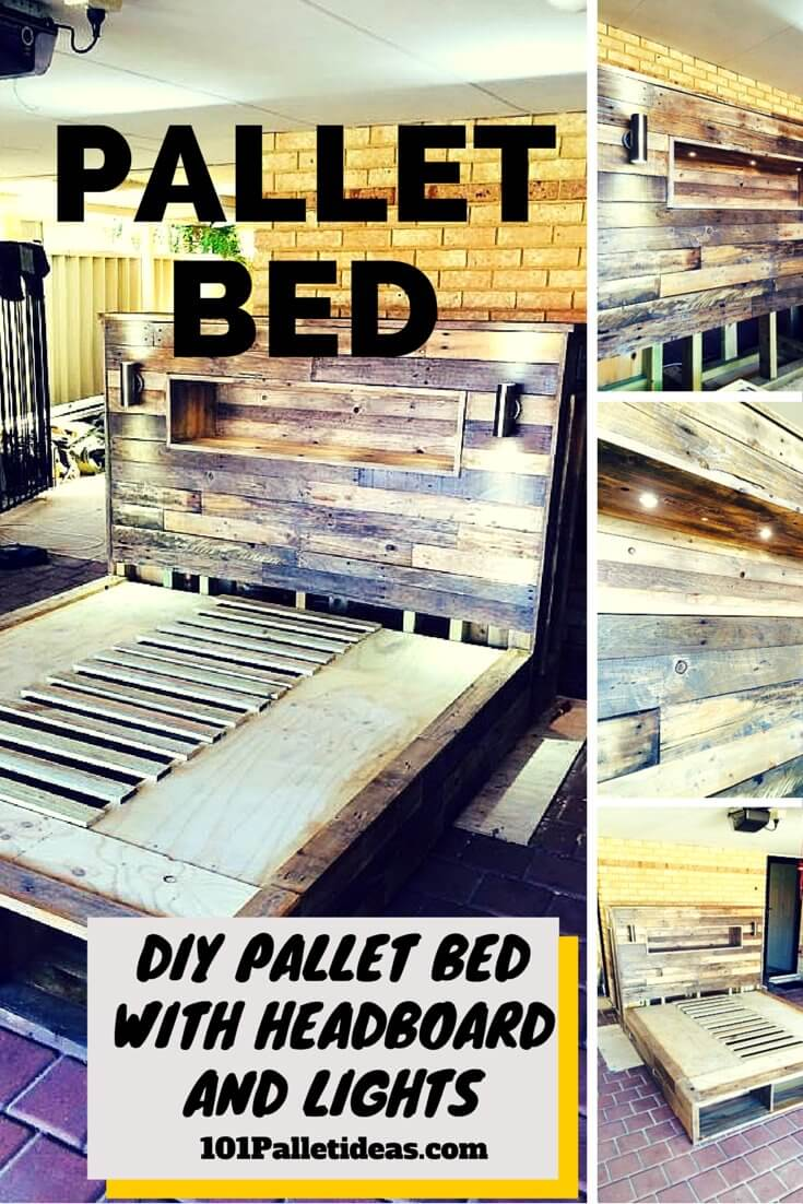 DIY Pallet Bed with Headboard