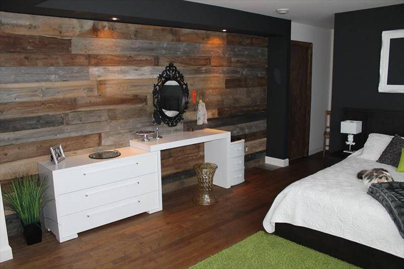 rustic pallet bedroom wall