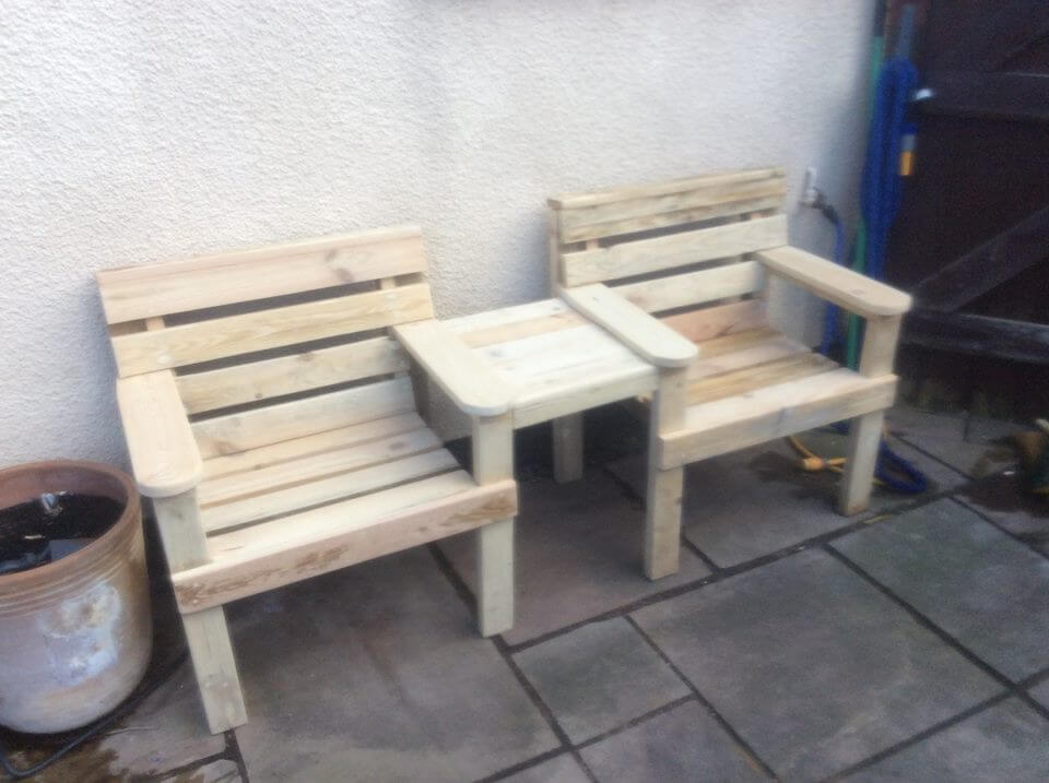 Wood double bed designs with storage images - Wood Pallet Outdoor Bench Double Chair