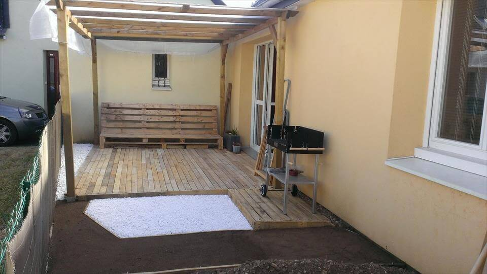 Pallet Deck Construction under Gazebo