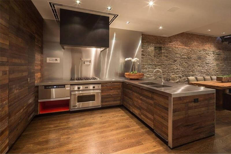 Diy wood pallet wall ideas and paneling 101 pallet ideas for Kitchen units made of bricks