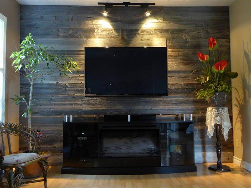 Wooden pallet wall decor paneling ideas - Wooden pallet accent wall ...