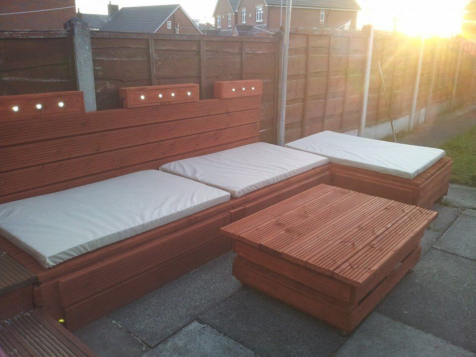 Spectacular Pallet Patio Furniture Ideas; Outdoor Pallet Sofa with Lights u2013 DIY Painted : diy sectional sofa frame plans - Sectionals, Sofas & Couches