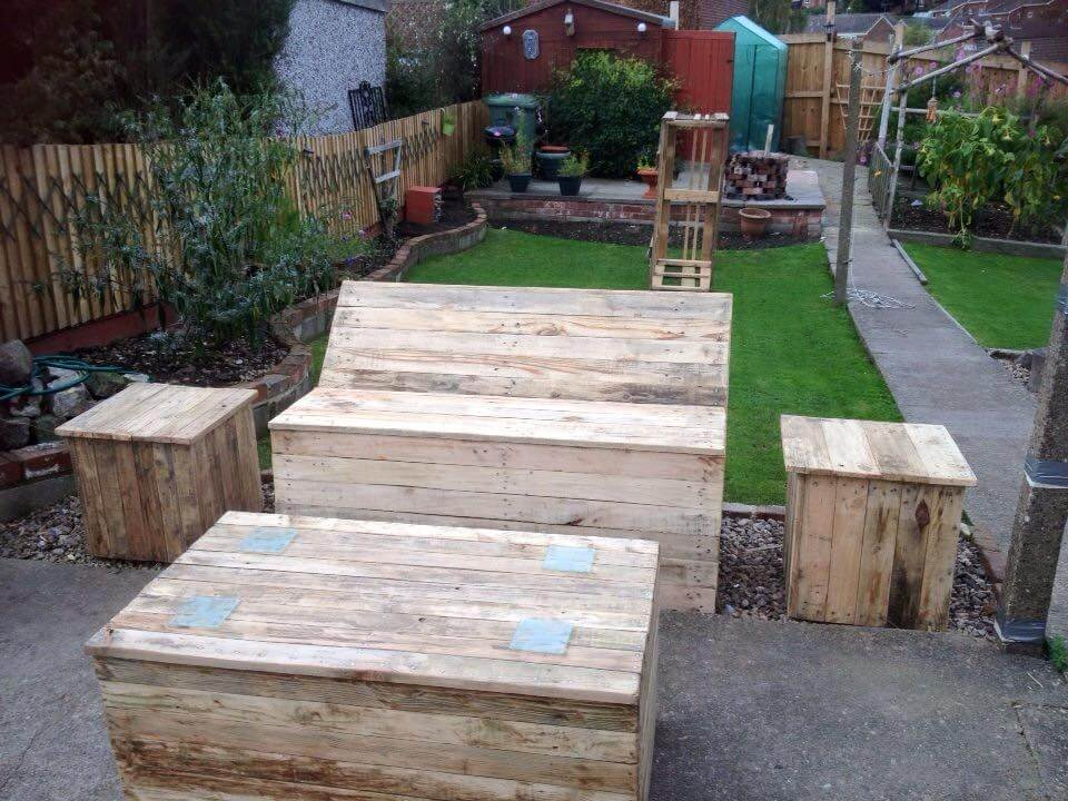 Furniture Set White Painted Pallet Garden Bench Wooden Pallet Garden ...