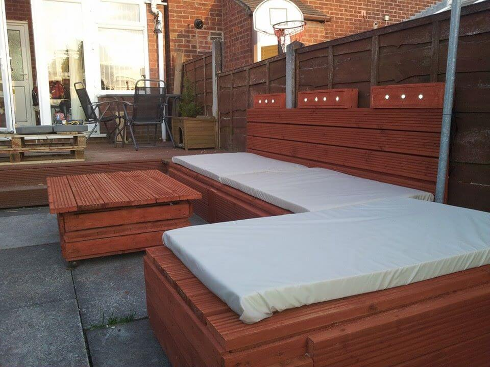wooden pallet patio set with lights