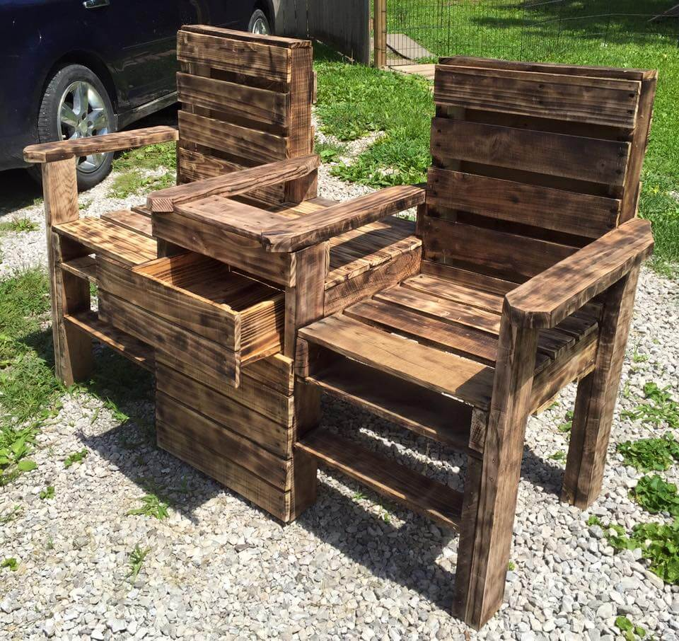 wooden pallet scorched double chair bench