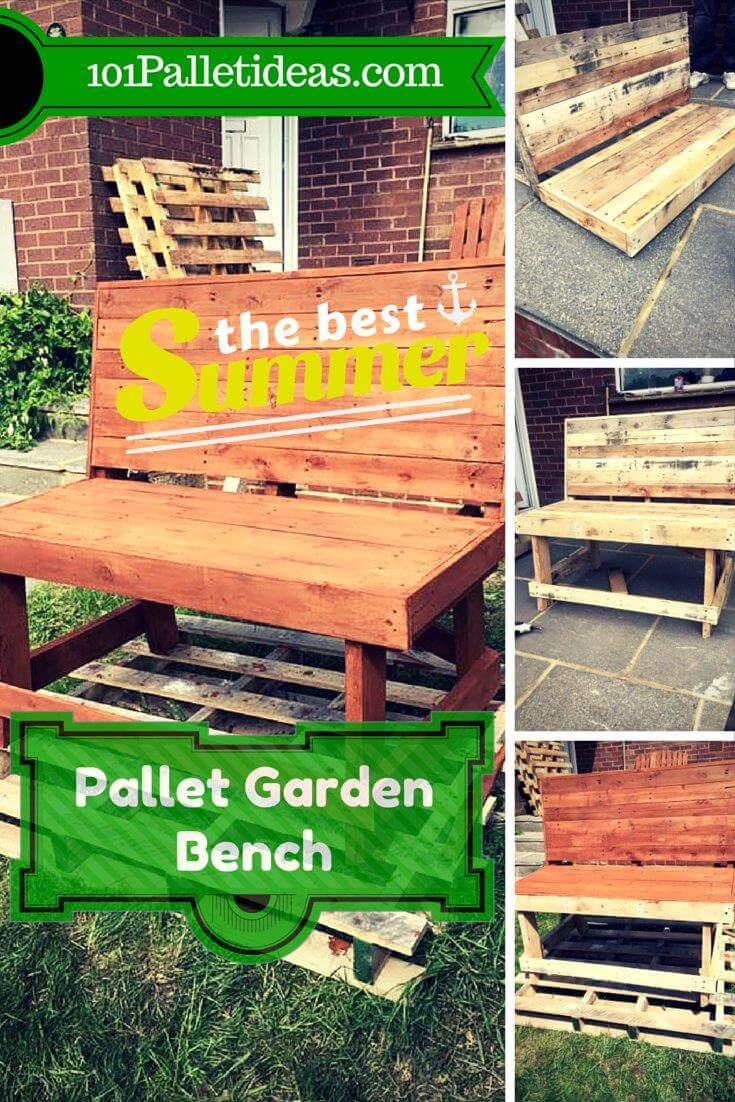 diy sturdy pallet garden bench idea