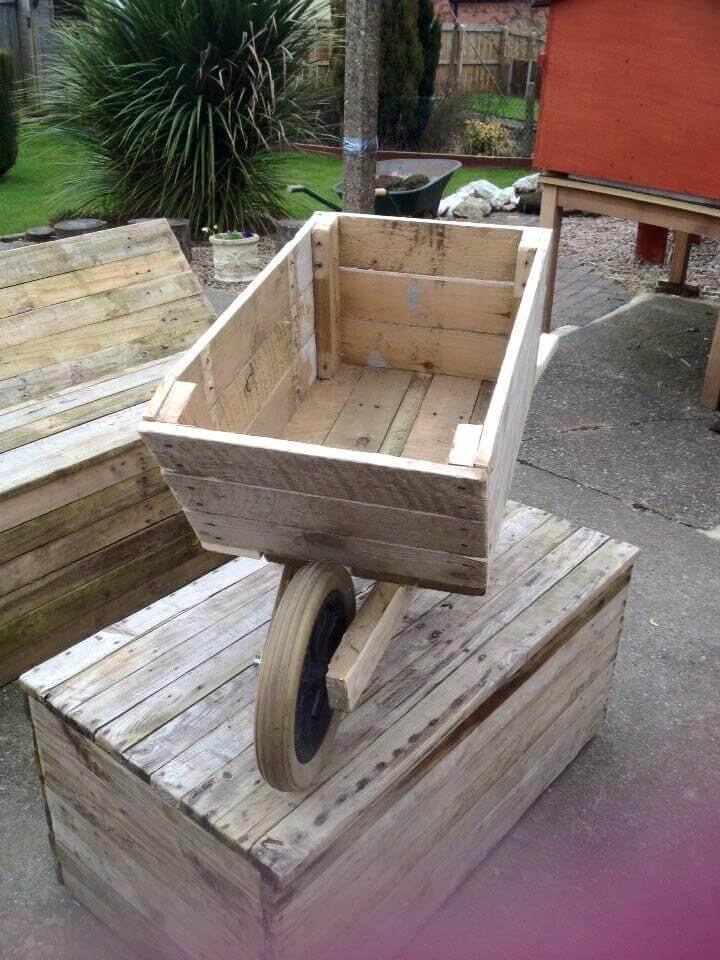 Wooden pallet wheelbarrow planter for Making planters from pallets