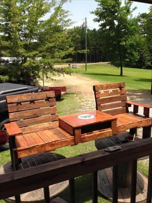 Pallet Double Chair Bench