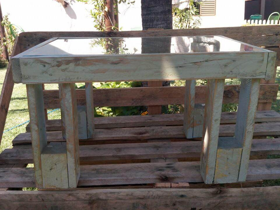 repurposed pallet coffee table with glass top