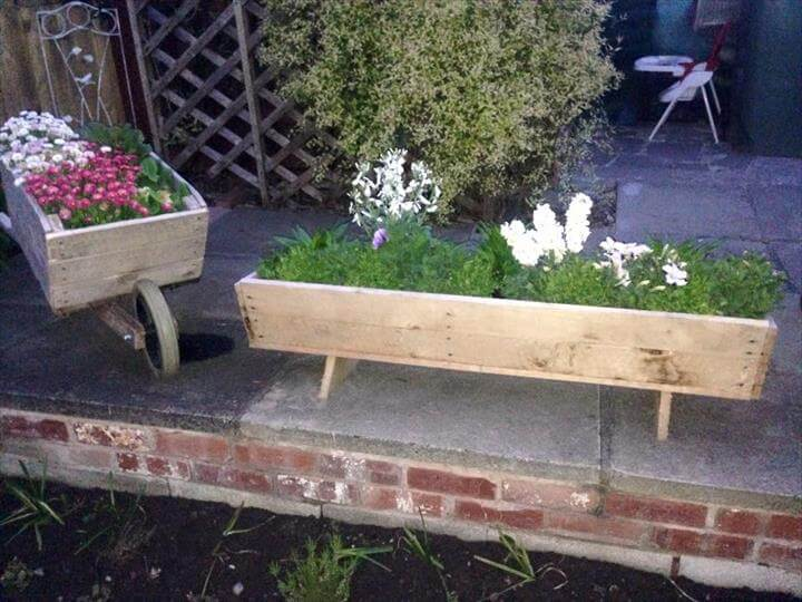 Wooden Pallet Wheelbarrow Planter