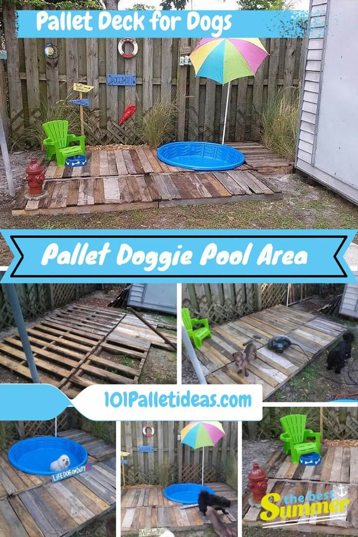 Diy Pallet Doggie Pool Area Pallet Deck 101 Pallet Ideas