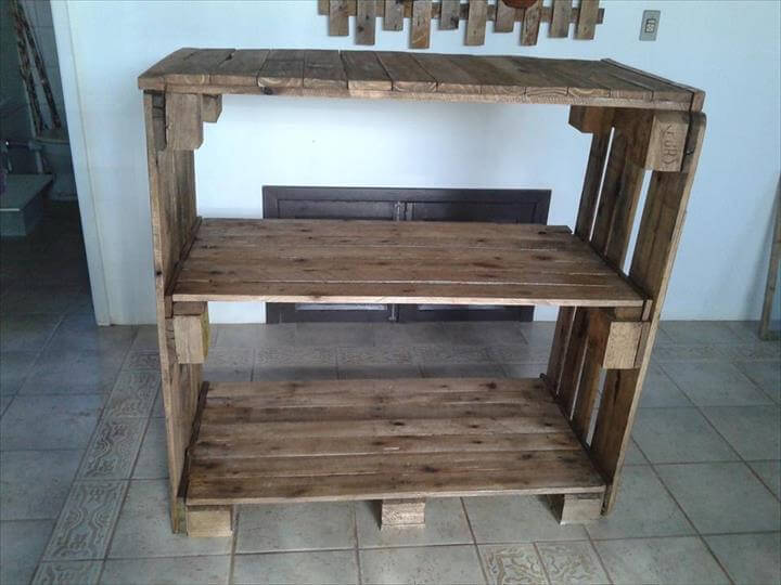 Pallet Shelves Unit Pallet Console Table