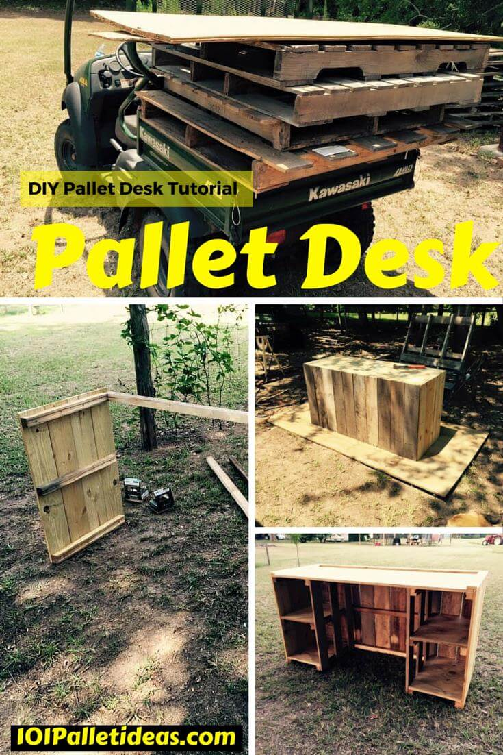 diy pallet desk tutorial. Black Bedroom Furniture Sets. Home Design Ideas