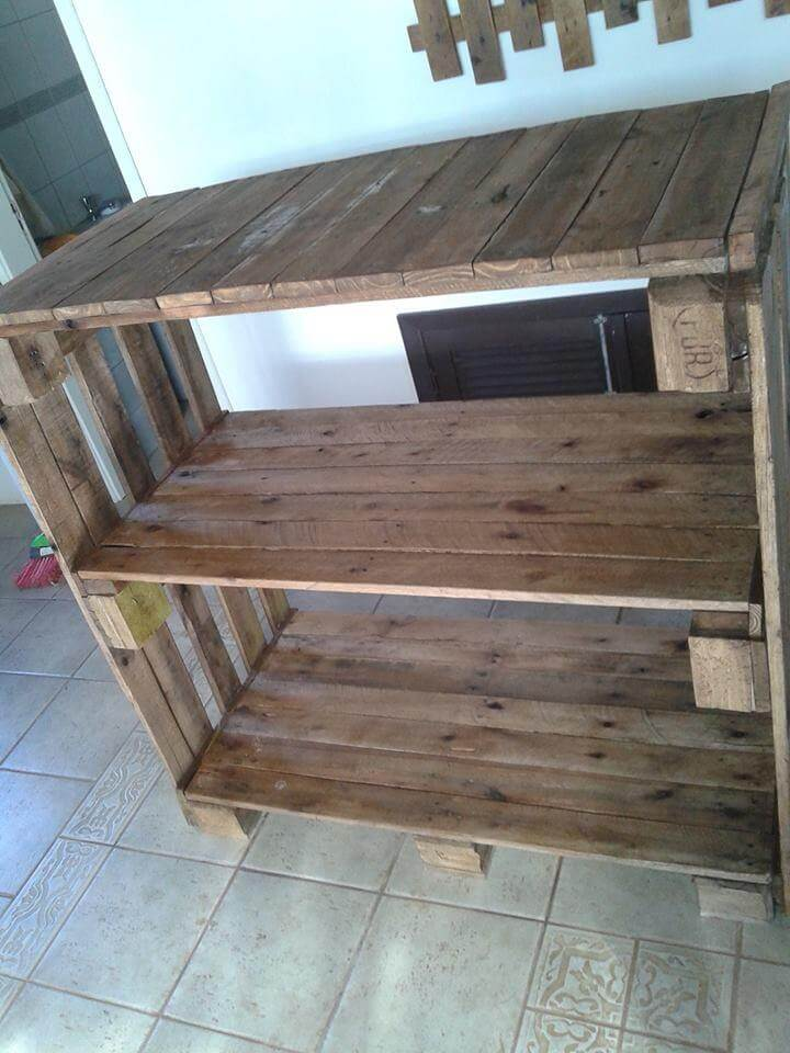 reclaimed pallet shelving unit and console table