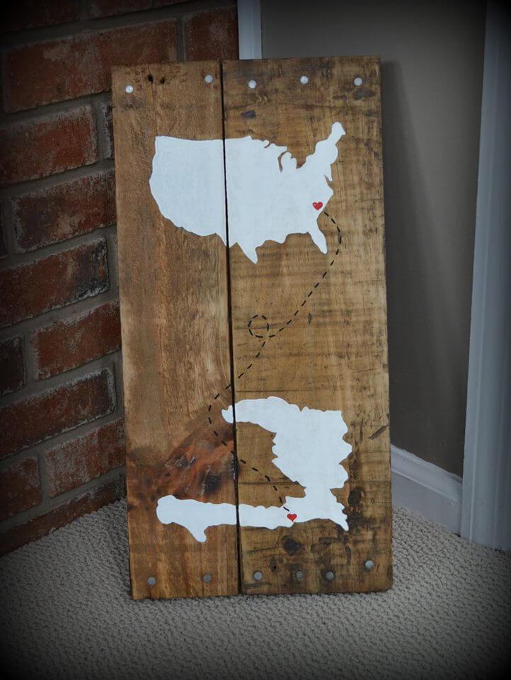 DIY Wooden Pallet Rustic Map Wall Art