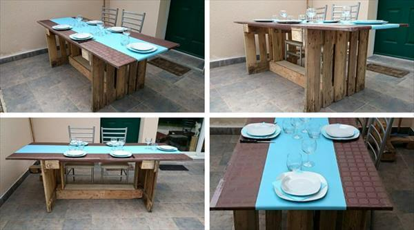 Round top table made of pallets diy for Dining room tables made from pallets