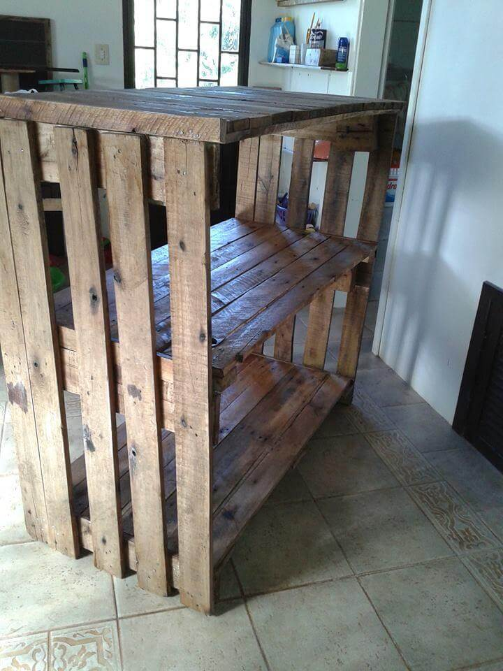 handmade made wooden pallet shelving unit and console table