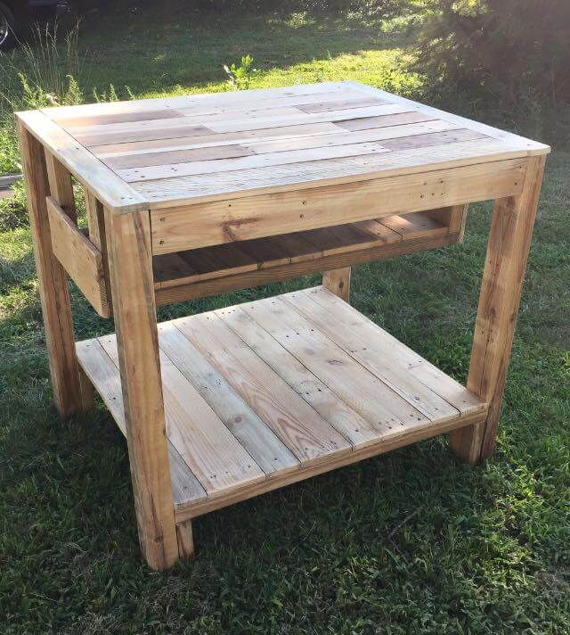 Reclaimed Pallet Kitchen Island Table