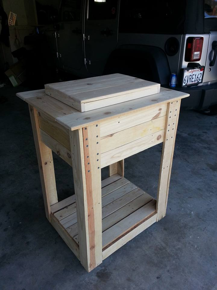 pallet-made ice chest and outdoor cooler