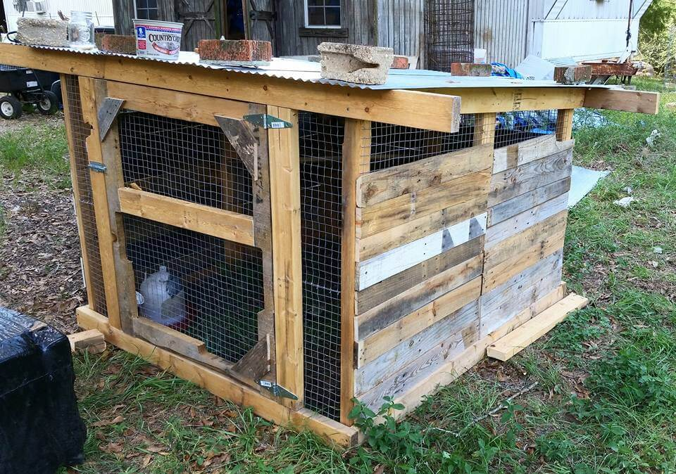 Pallet dog house cat house playhouse for How to build a chicken coop out of pallets