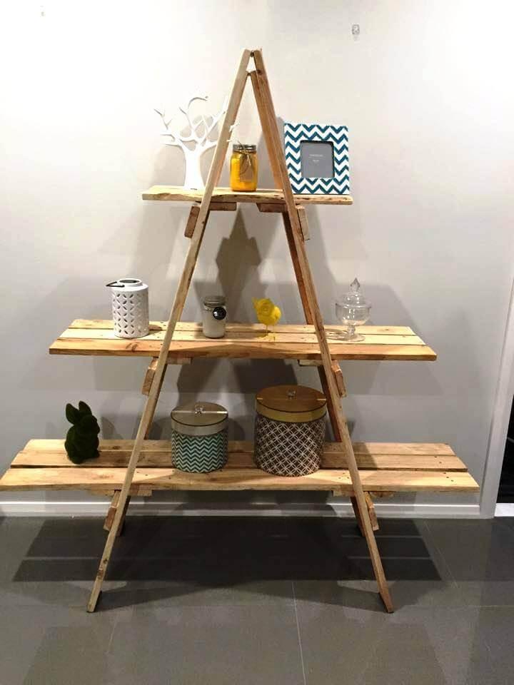 handmade pallet and ladder shelf