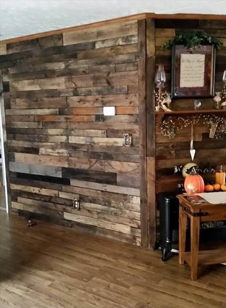 Pallet wood wall pallet room divider for Decor systems