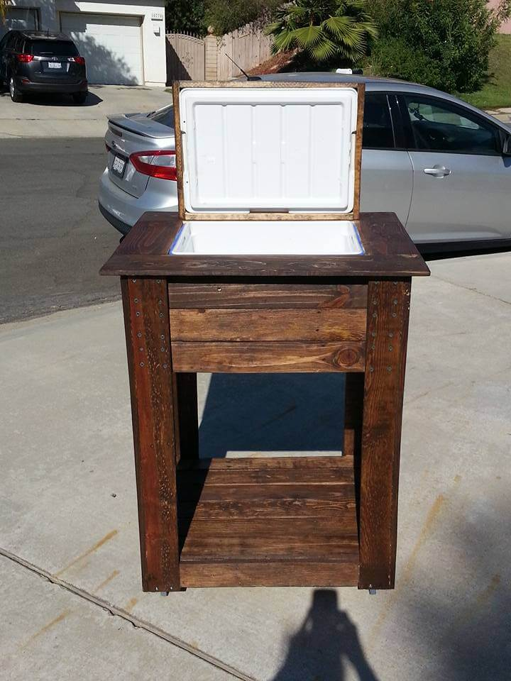diy pallet cooler stand    ice chest